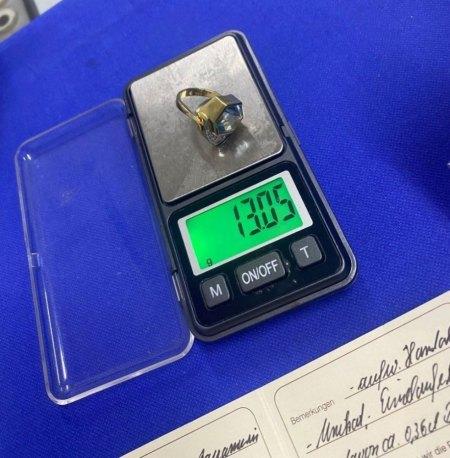 Aquamarinring, 750er Gold, mit Brillanten