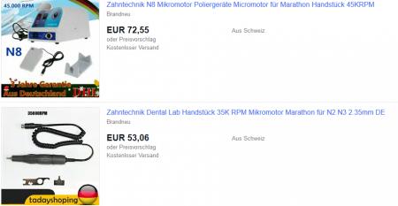 Mikromotor, Handstück, Fasserhammer und Fußpedal kaufen
