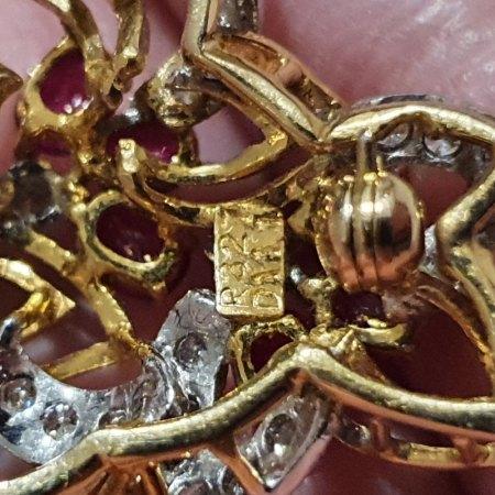 Brosche 750 Gold mit Brillanten & Rubinen / Wertbestimmung