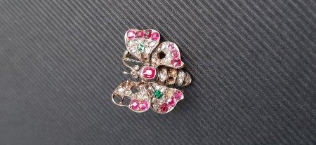 18k Schmetterling Brosche (Diamant)