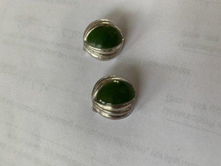 Ohrclips Silberschmuck mit grünem Stein