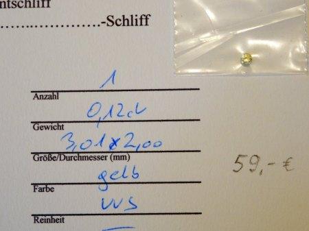 """6 """"farbige"""" Brillanten - aus Goldschmiede zu verkaufen"""