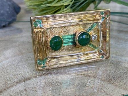 Außergewöhnliche Smaragd Brillant Brosche