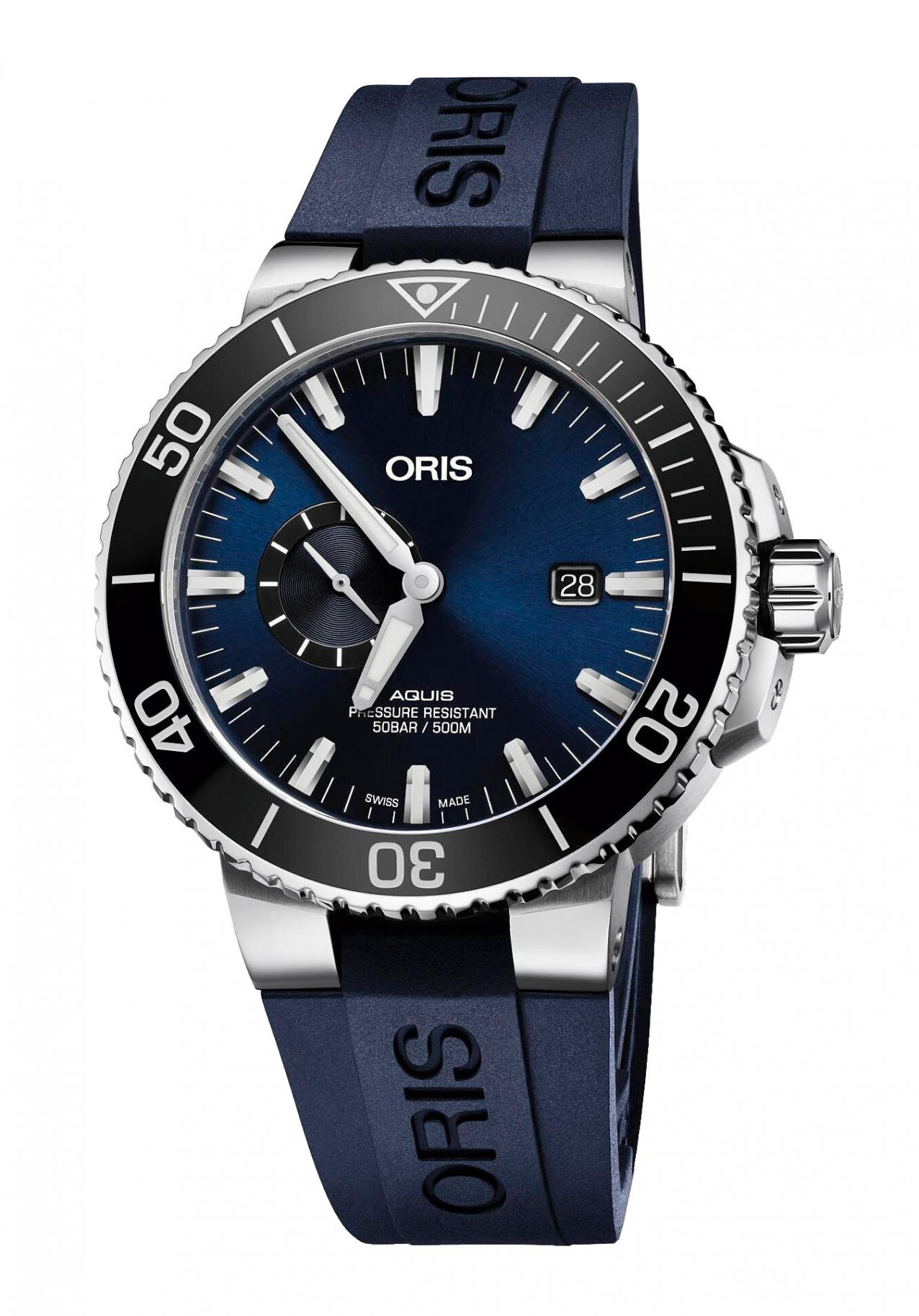 Oris Herrenuhr Aquis Small Second Automatik-Taucheruhr